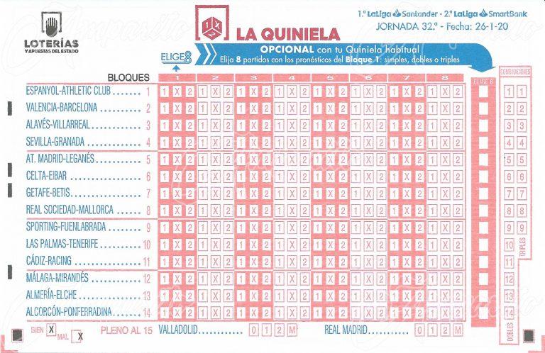 Boleto 1X2 –ESPAÑA- 2020 Pleno GOLES