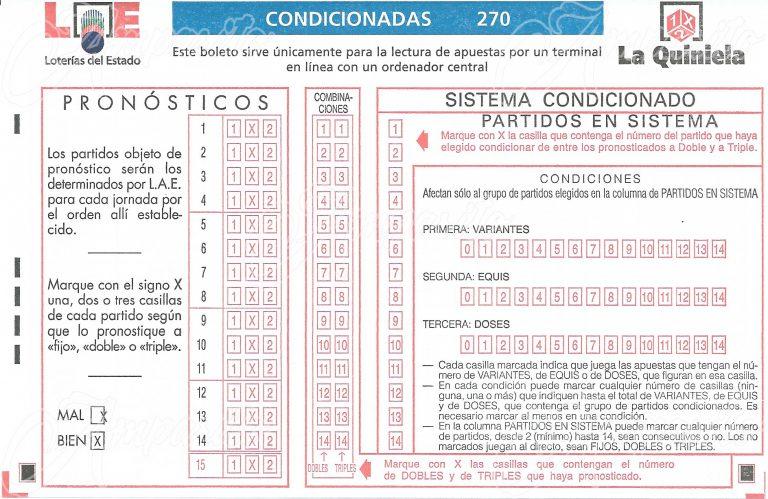Boleto 1X2 –ESPAÑA- 2010 Método Condicionado