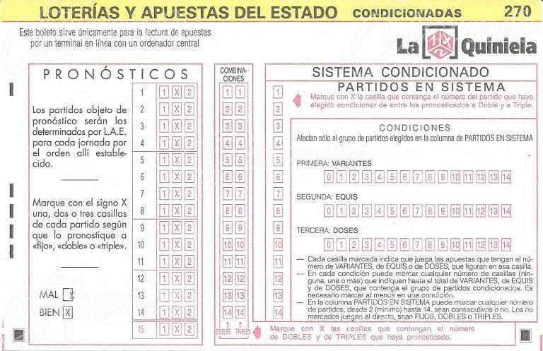 Boleto 1X2 –ESPAÑA- 2012 Método Condicionado