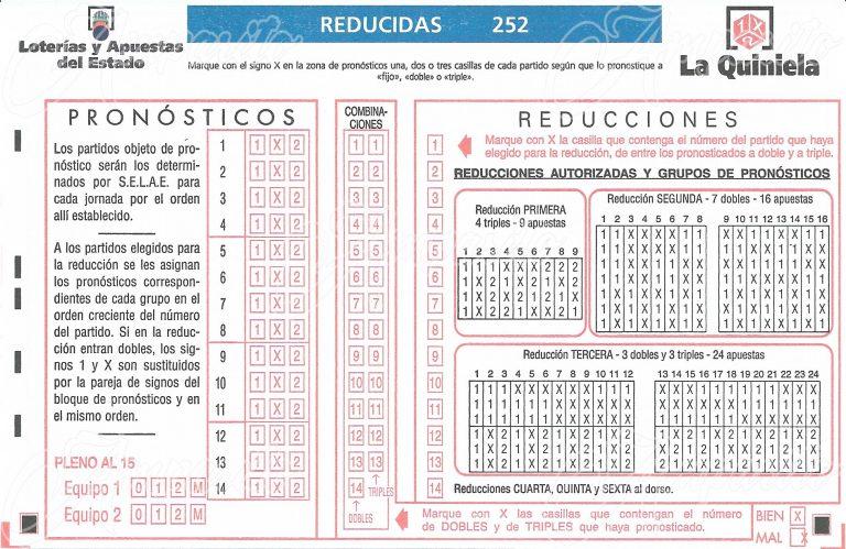 Boleto 1X2 –ESPAÑA- 2016 Método Reducido