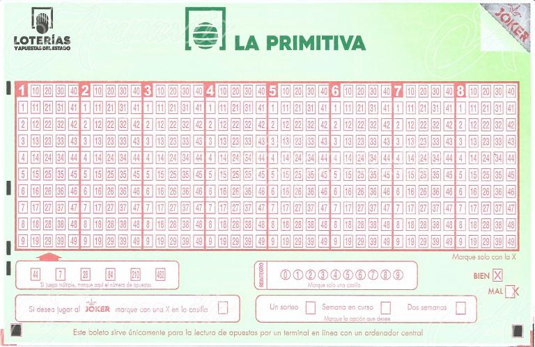 Boleto Lotería Primitiva 2018