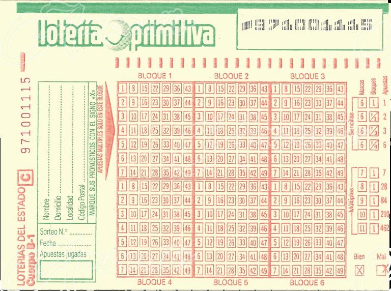 Boleto Loteria Primitiva 1987